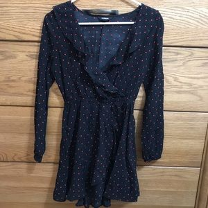 Express long sleeve polka dot minidress.